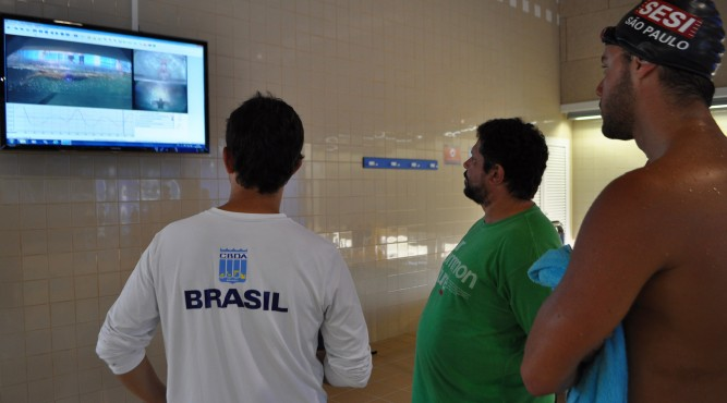 brasilian team have a look at the last session in the flume