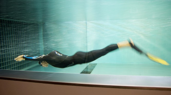 swimming in the flume with diver fins