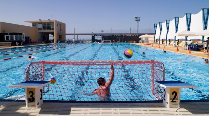 Or pool also can be prepared for waterpolo. Bring your team and check out.