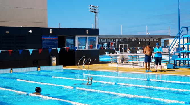 2 pools, a flume, several gyms, one coach, a group of athletes and you. sounds good? check out our swimming facilities