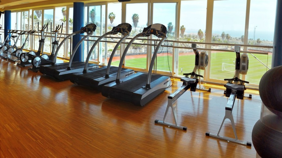 Two Rowing machines (Concept 2®), Three Treadmills (Woodway®), Two Crosstrainers (Keiser ®) standing infront the huge glassfront, From there you can see the Football pitch, the Palm trees and the ocean.