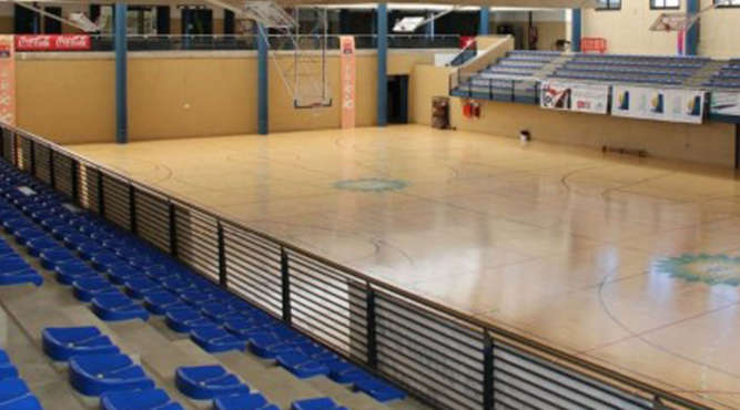 basketball court, ready for spectaters