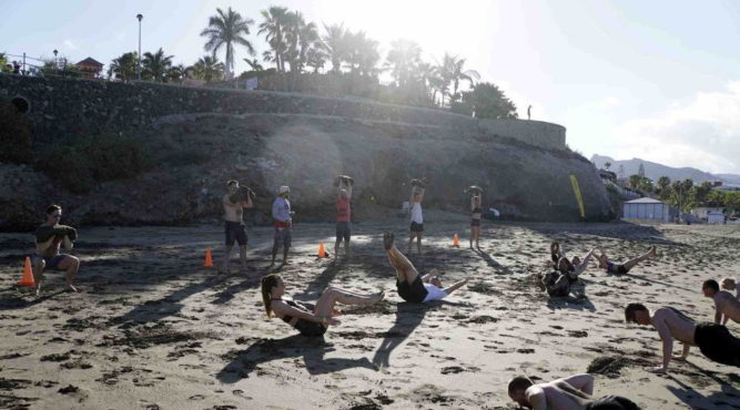 fitness holidays tenerife top training beach group wod
