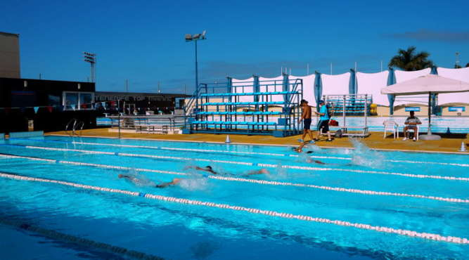 swim camp glen 50 meter olympic pool sun