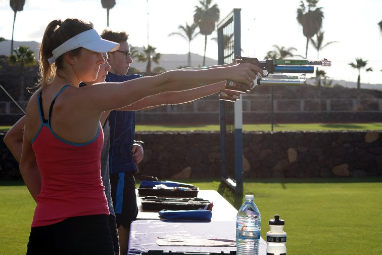 Modern Pentathlon Team GB Athletes during the shooting training . In the background you can see the Palm trees of T3