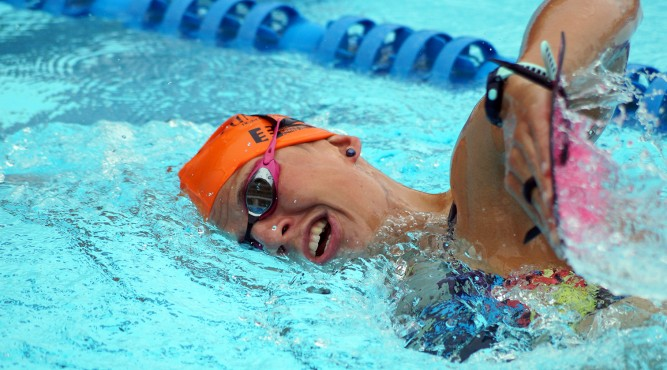 Kaidi Kivioja is swimming front crawl in her Trithlon Training at Tenerife Top Training
