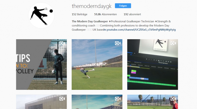 This is a screenshot the home page of the-modern-day-goalkeeper on Instagramm