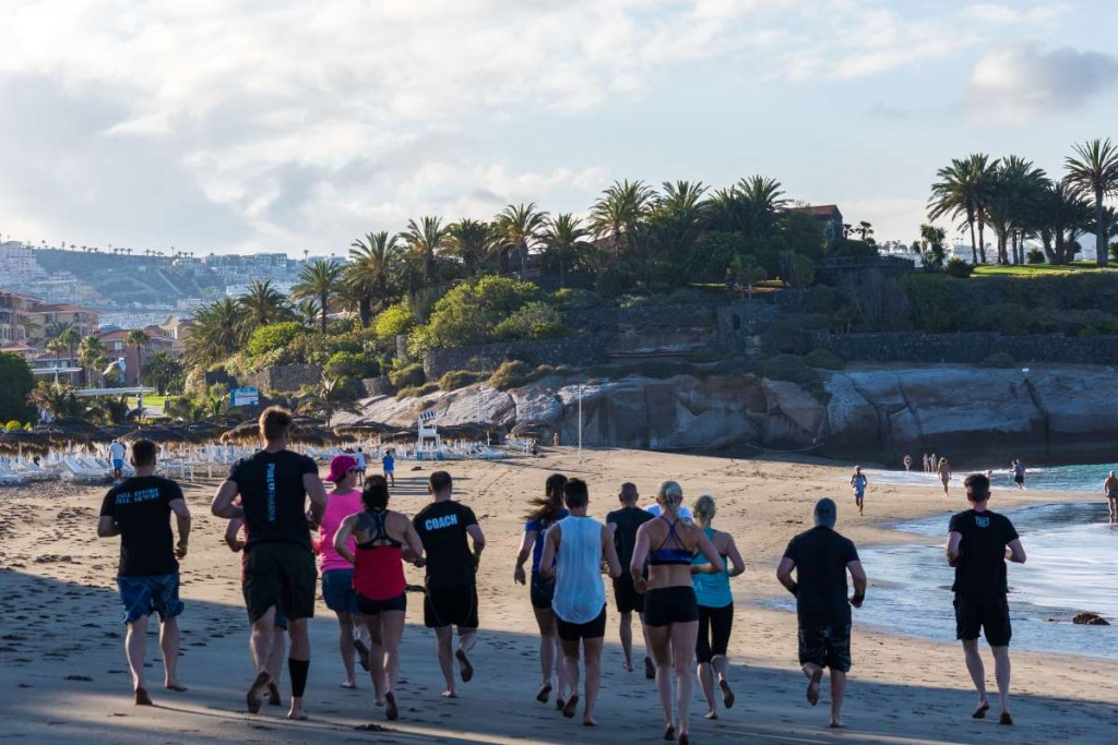 Train during your healthy holiday in a group at the best beaches on Tenerife