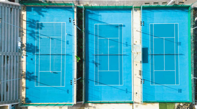 "Our 3 tennis courts are of the type ""Green Set"" ATP accredited and Protects joints"