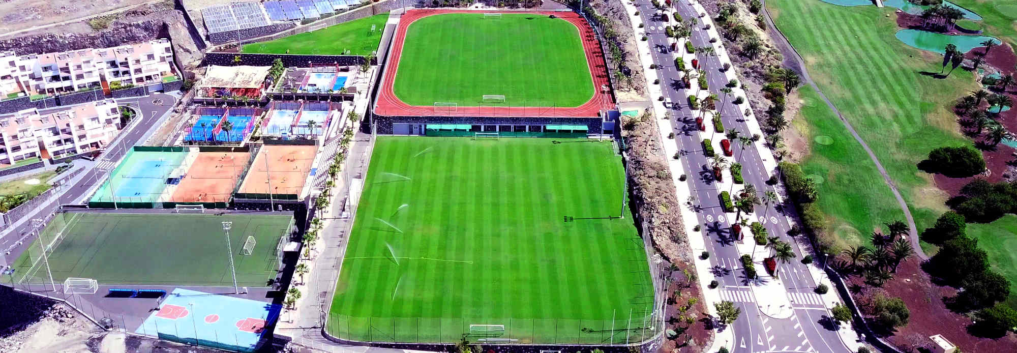 Arial view of world-class soccer pitches of Tenerife Top Training. The perfect place for a professional warm-weather football training camp in Spain