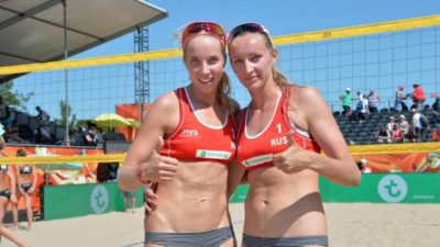 The Russian beach volleyball team is training in T3 for the World Cup
