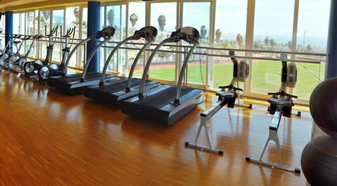 There are treadmills, rowing machines and much more in the indoor gmy at the T3