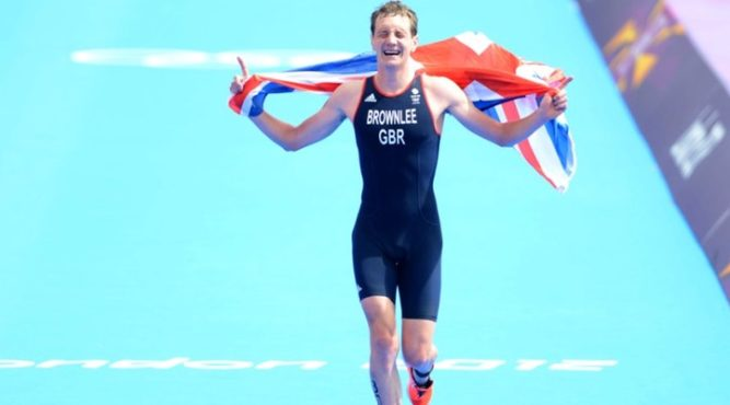 Alistair Brownlee at the finish of a triathlon race
