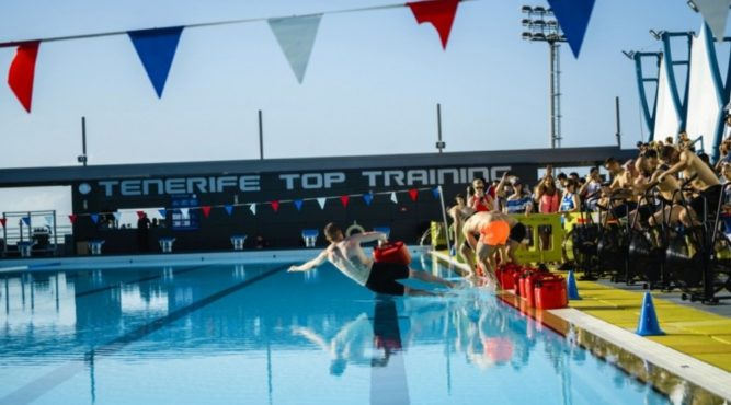 CrossFit holidays in Tenerife with pool WOD in 50 or 25 meter swimming pool