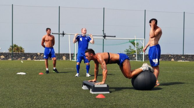 The football teams use the equipment provided by Tenerife Top Training for their training.